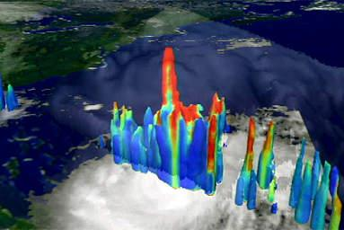 This unusual image of Hurricane Bonnie from high above the Earth shows what powerful hurricanes do just before they intensify -- build towers of clouds high into the sky.